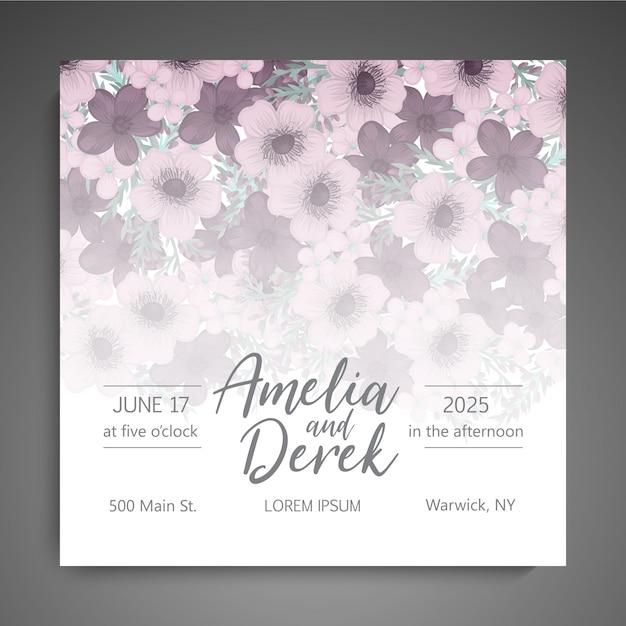 Bloemen elegante huwelijksuitnodiging uitnodigekaart Gratis Vector