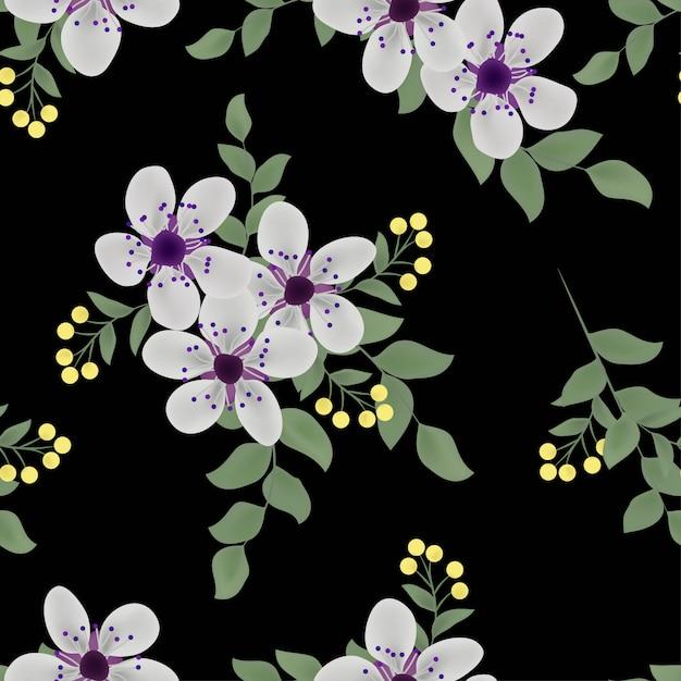 Bloemen en blad naadloze patroon Premium Vector