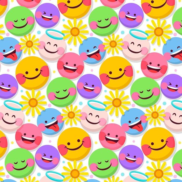 Bloemen en emoticons patroon sjabloon Premium Vector