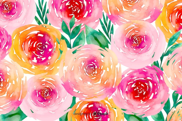 Bloemen en gebladerte waterverf bloemenachtergrond Gratis Vector