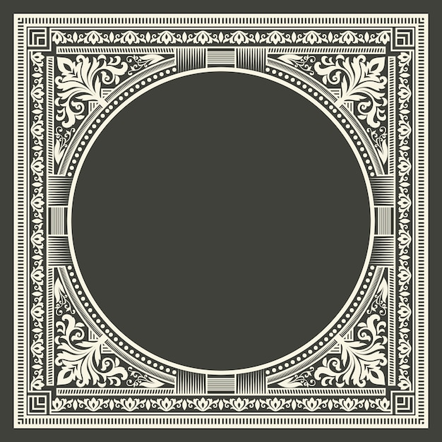Bloemen en geometrische monogram frame op donker grijze achtergrond. monogram ontwerpelement. Gratis Vector