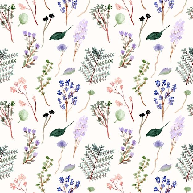 Bloemen en takken aquarel naadloze patroon Premium Vector