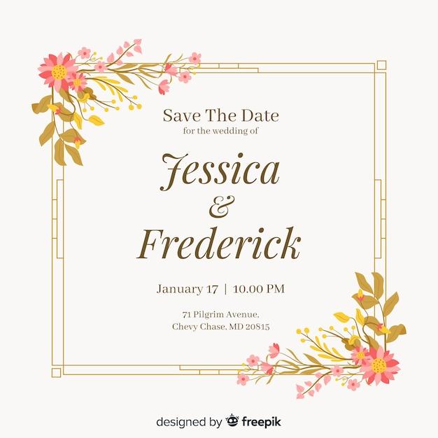 Bloemen frame bruiloft invitatio in plat ontwerp Gratis Vector