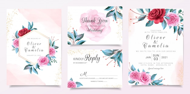 Bloemen frame bruiloft uitnodiging kaartsjabloon ingesteld met bloemendecoratie en aquarel achtergrond Premium Vector