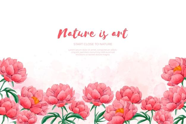 Bloemen frame gemaakt met aquarel rode bloemen Gratis Vector