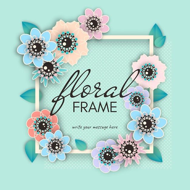 Bloemen frame Premium Vector
