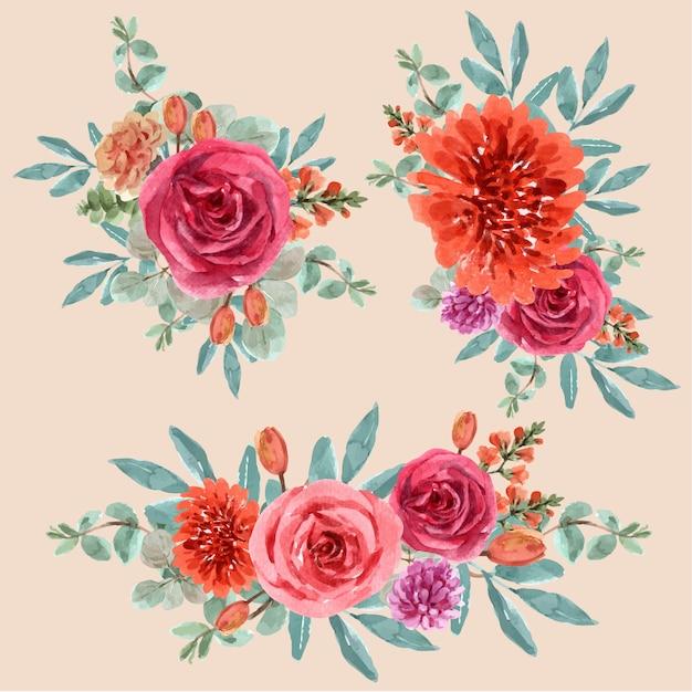 Bloemen gloeiende ember boeket met roos, leeuwenbek, tulp voor decoratie. Gratis Vector