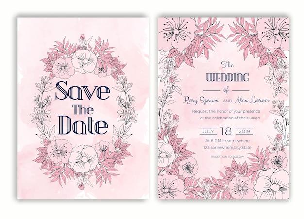 Bloemen hand getrokken frame voor een bruiloft uitnodiging Premium Vector