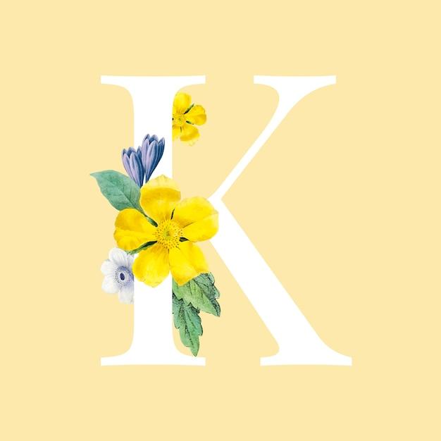 Bloemen hoofdletter k alfabet vector Gratis Vector