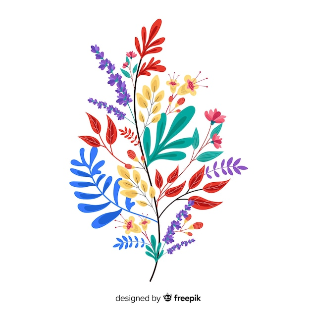 Bloemen in een kleurrijke bladvorm Gratis Vector