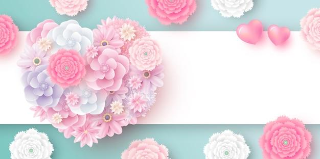Bloemen in hartvorm met exemplaarruimte Premium Vector