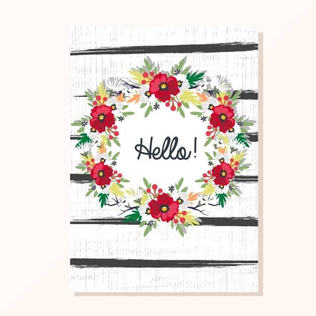 Bloemen kaart uitnodiging Gratis Vector