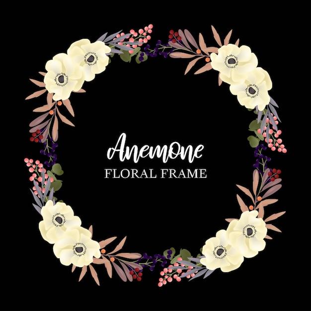 Bloemen krans cirkelframe met anemone Premium Vector