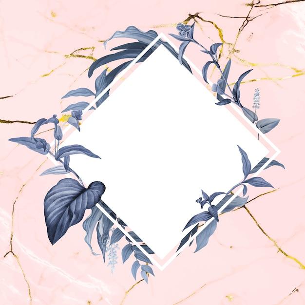 Bloemen lege badge Gratis Vector