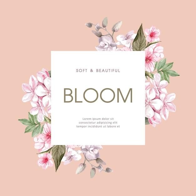 Bloemen lente frame Gratis Vector