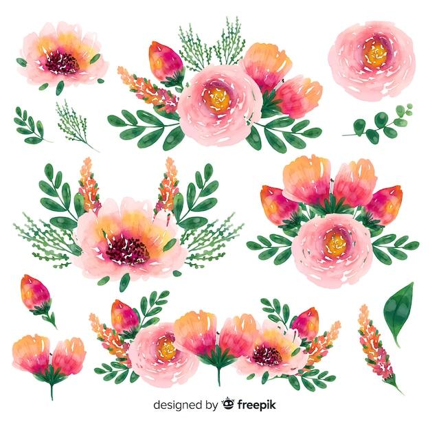Bloemen lente tijd aquarel boeket achtergrond Gratis Vector