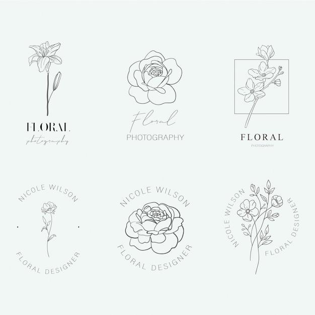 Bloemen logo's Premium Vector