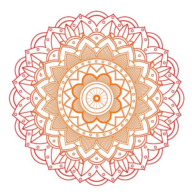 Bloemen mandala op wit Gratis Vector