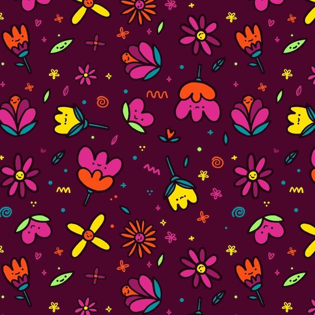 Bloemen met gezichten naadloos patroon Gratis Vector