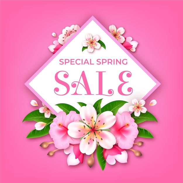 Bloemen met realistische speciale voorjaarsuitverkoop Gratis Vector