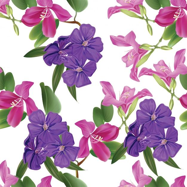Bloemen naadloos patroon met bauhinia en glorie bush Premium Vector