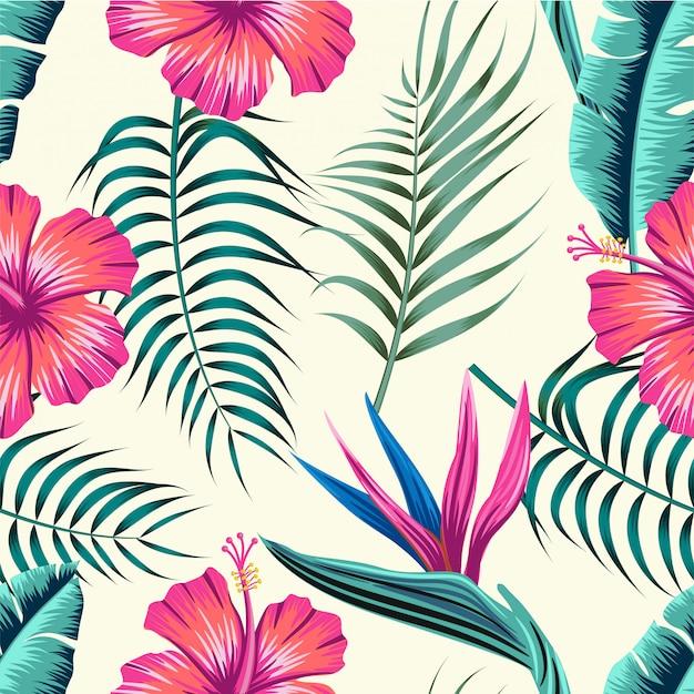 Bloemen naadloos patroon met bladeren Premium Vector