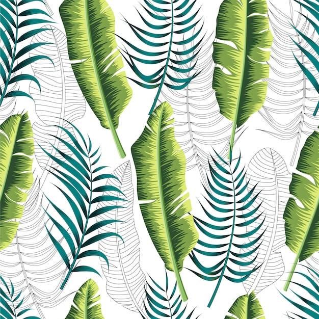 Bloemen naadloos patroon met bladeren. Premium Vector
