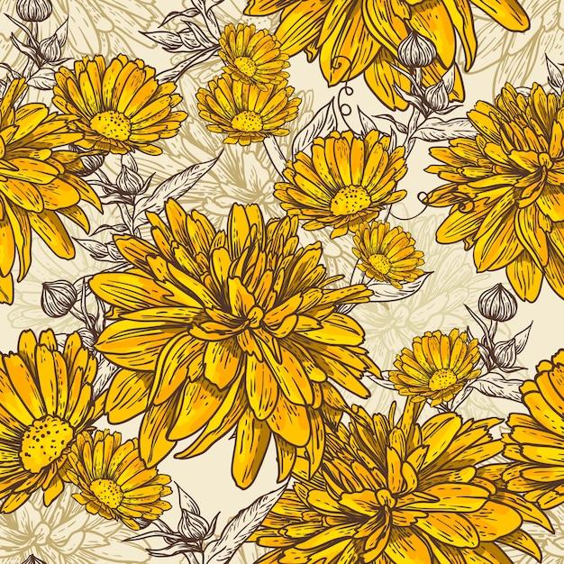 Bloemen naadloos patroon met bloeiende bloemen Premium Vector