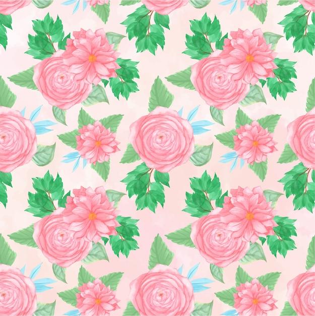 Bloemen naadloos patroon met prachtige roze bloemen Premium Vector