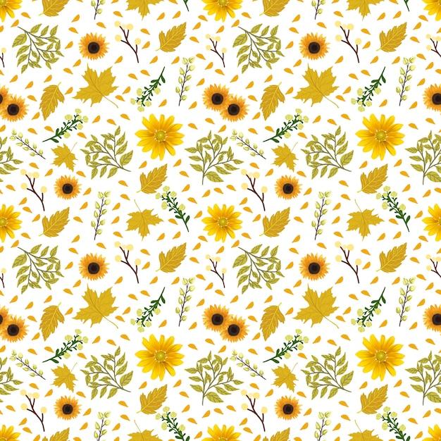 Bloemen naadloos patroon met schitterende gele bloemen Premium Vector