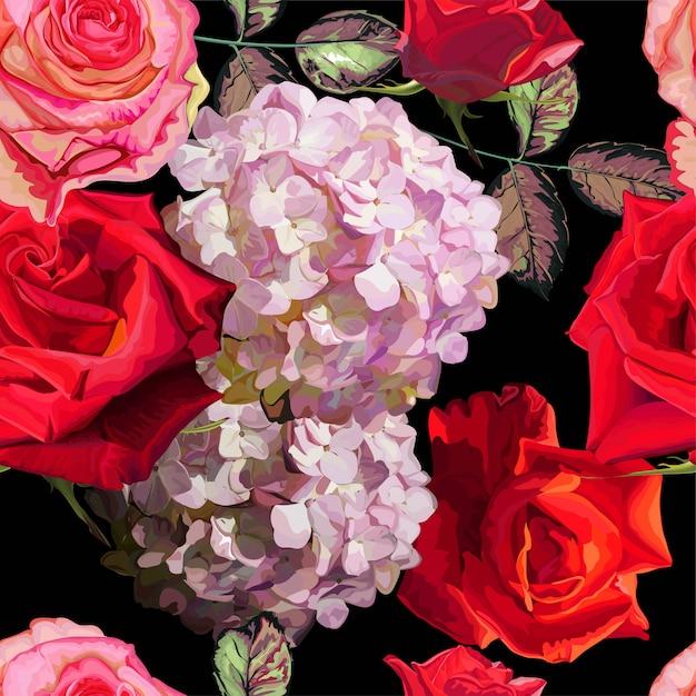 Bloemen naadloze patroon vectorillustratie Premium Vector