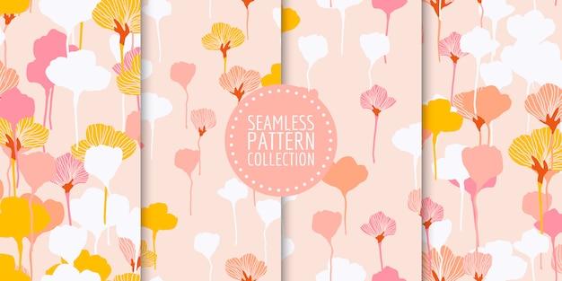 Bloemen naadloze patrooninzameling Premium Vector