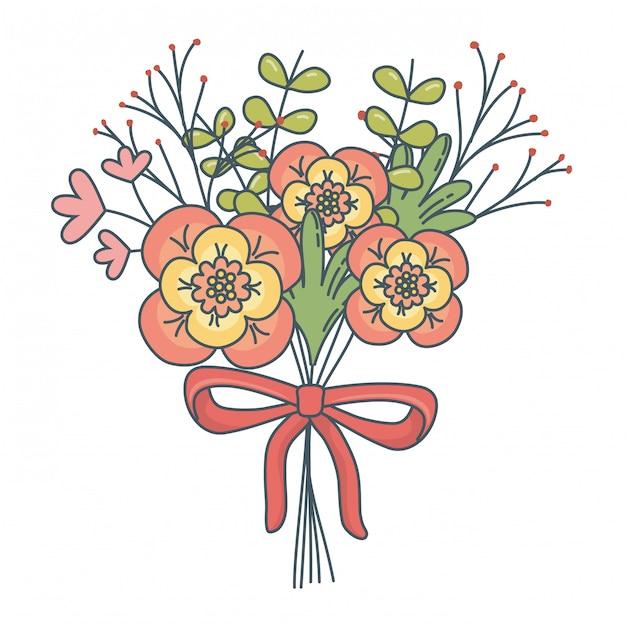 Bloemen natuur bloemen cartoon Gratis Vector