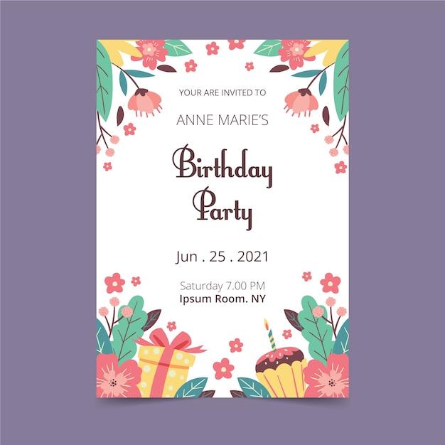 Bloemen ontwerp verjaardagskaart Gratis Vector