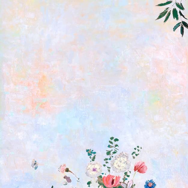 Bloemen op een pastel canvas Gratis Vector