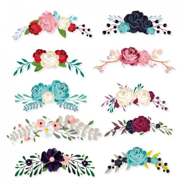 Bloemen ornamenten collectie Gratis Vector