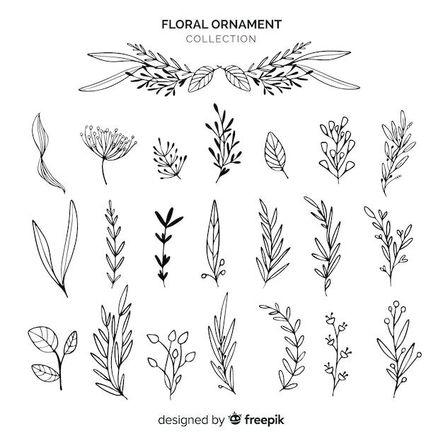 Bloemen ornamenteninzameling Gratis Vector
