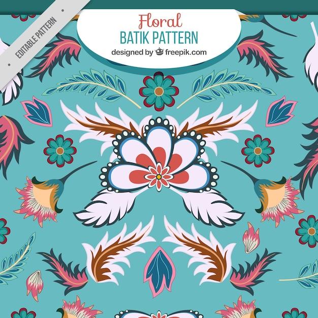 Bloemen patroon met bladeren in batik stijl Gratis Vector