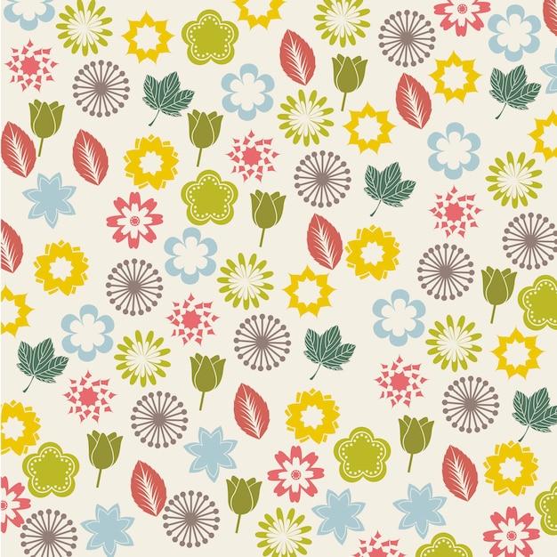 Bloemen pictogrammen over beige achtergrond vectorillustratie Premium Vector