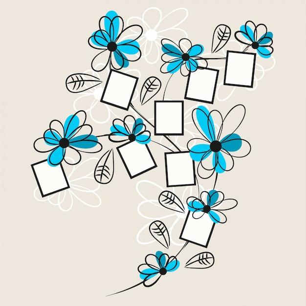 Bloemen polaroid tekening Gratis Vector