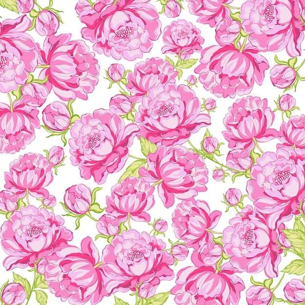 Bloemen printen patroonpionnen Premium Vector