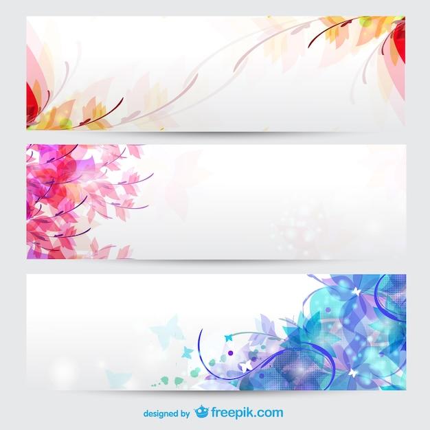 Bloemen seizoenen banners Gratis Vector