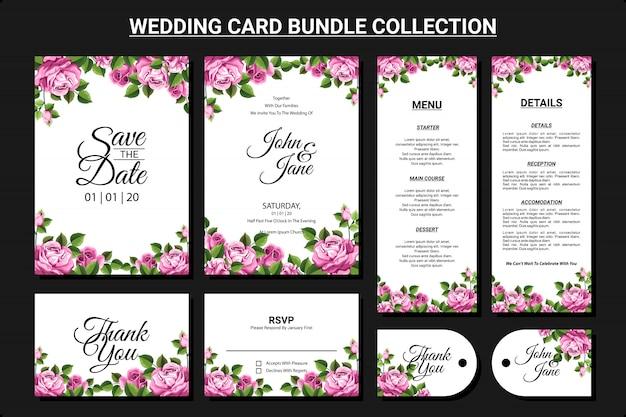Bloemen sieraad voor bruiloft kaart bundel collectie set Premium Vector