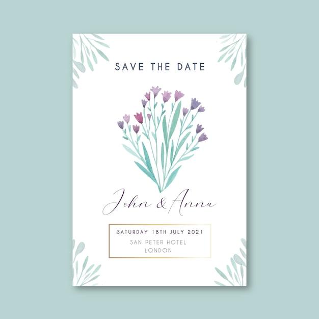 Bloemen sparen de datumkaartsjabloon Gratis Vector
