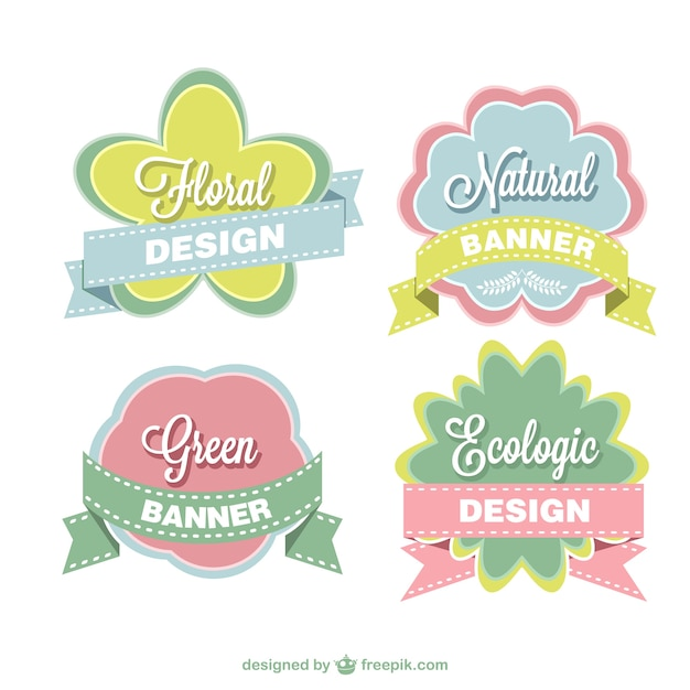 Bloemen stickers set Gratis Vector