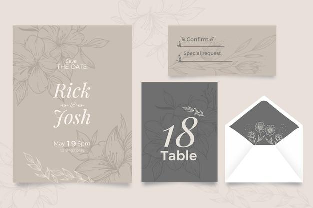 Bloemen stijl bruiloft uitnodiging Gratis Vector