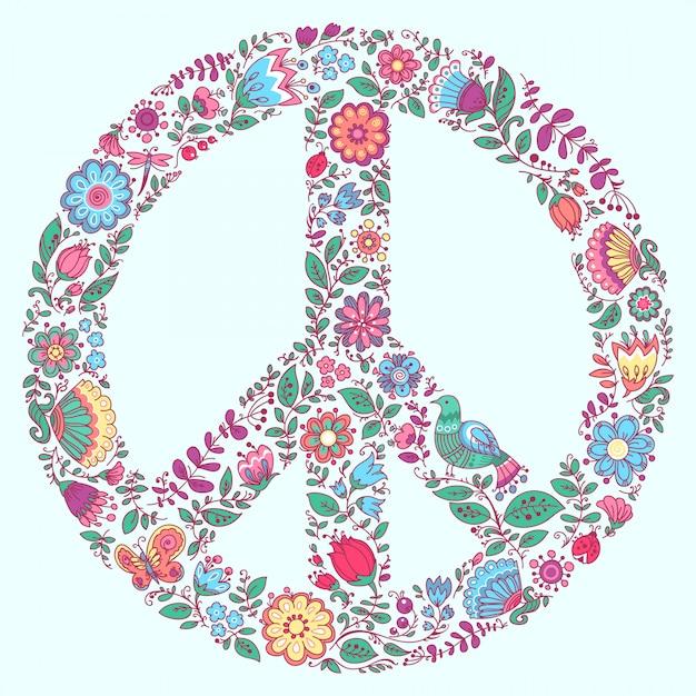Bloemen symbool van het vredessymbool Premium Vector