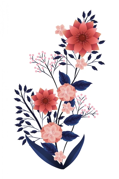 Bloemen tropische cartoon Premium Vector