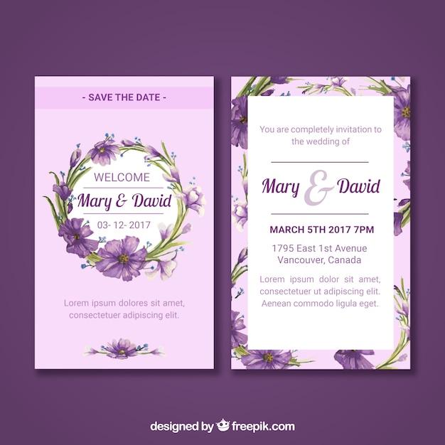 Bloemen trouwkaart met aquarelstijl Gratis Vector