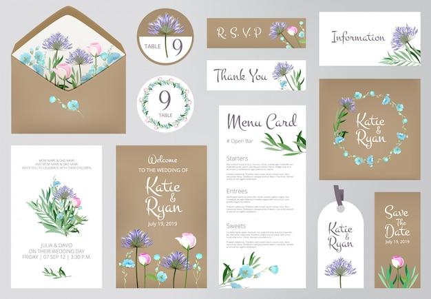Bloemen uitnodiging bruiloft liefde wenskaarten Premium Vector